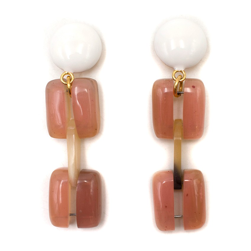 Marni Pink Clip On Drop Earrings