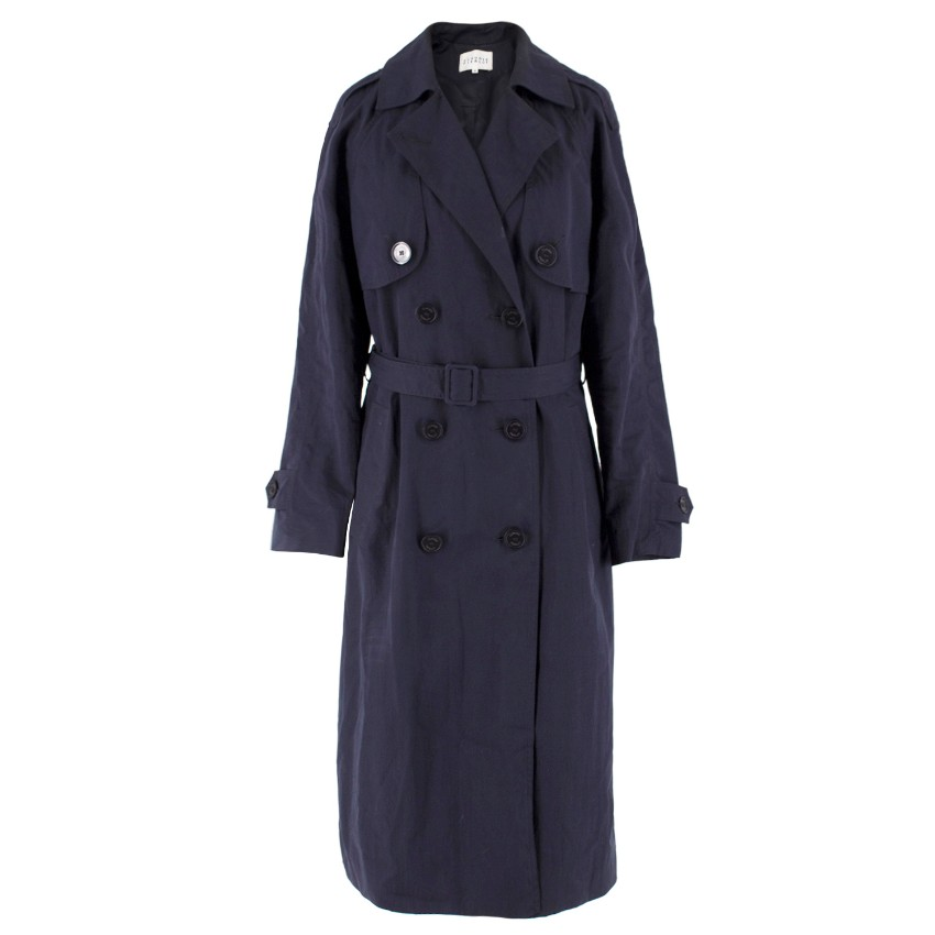 Claudie Pierlot Navy Cotton-Blend Lightweight Trench Coat