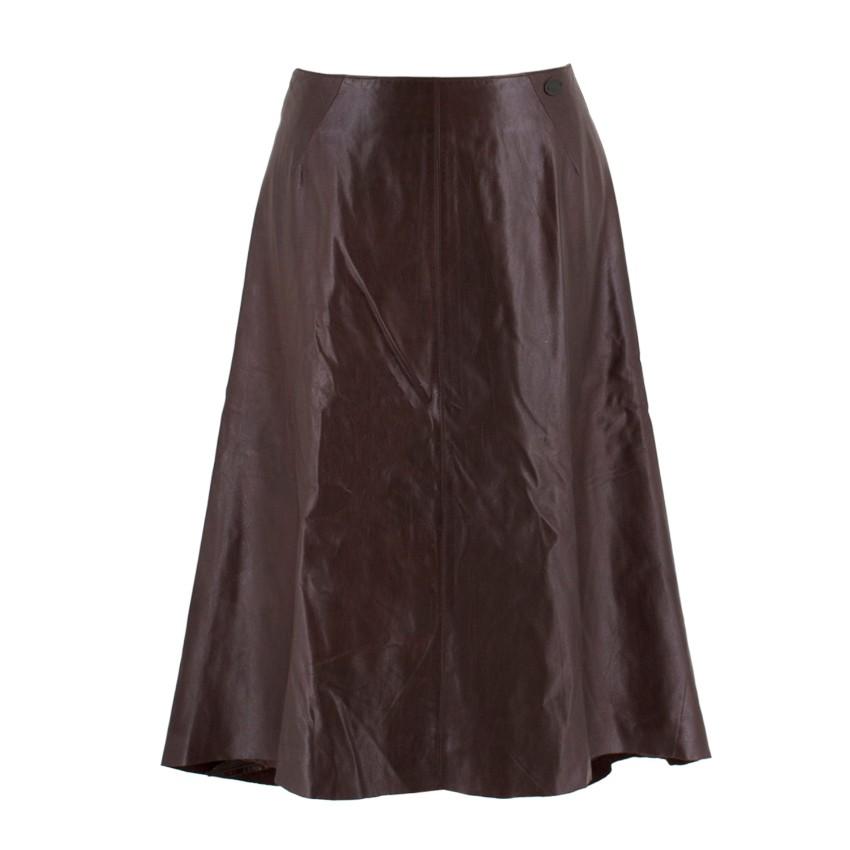 Chanel Vintage Brown Calfskin Leather Midi Skirt