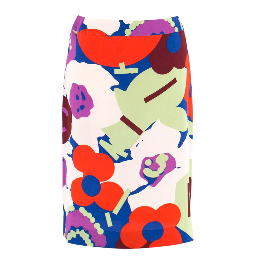 Chanel Printed Silk Midi Skirt
