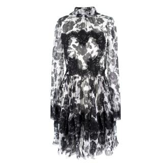 Dolce & Gabbana Printed Silk and Lace Sheer Floral Dress