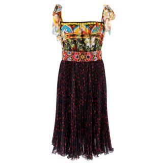 Dolce & Gabbana Silk Embellished Pleated Midi Dress