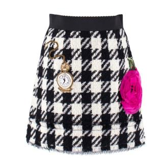 Dolce & Gabbana Houndstooth Wool Embellished Skirt