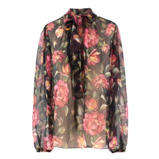Dolce & Gabbana Rose Print Sheer Silk Blouse