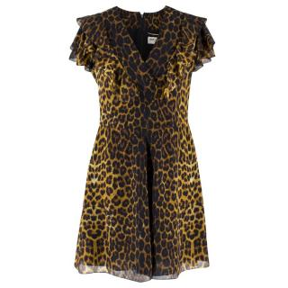 Saint Laurent Silk Leopard Print Frilled Dress