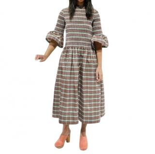 Molly Goddard Checked Midi Dress