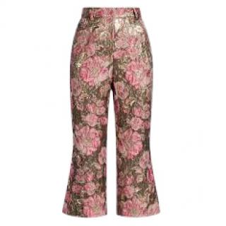 Dolce & Gabbana Lurex Jacquard Gold and Pink Trousers