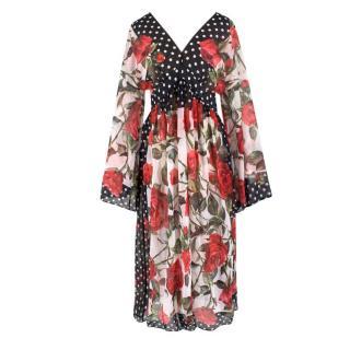 Dolce & Gabbana Polka Dot Rose Print Midi Dress