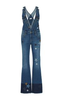 Red Valentino star denim overall jumpsuit