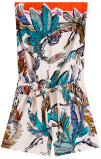 Emilio Pucci feather print strapless playsuit