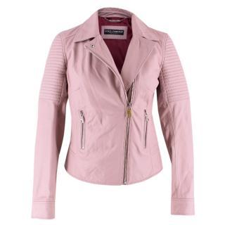 Dolce & Gabbana Blush Leather Biker Jacket