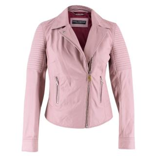 Dolce & Gabbana Blush Leather Biker Jacket