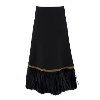 Dolce & Gabbana Wool and Feather Trim Midi Skirt