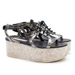 Stella Mccartney 'lucy' Marble Effect Platform Sandals