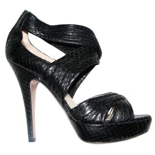Prada Black Python sandals
