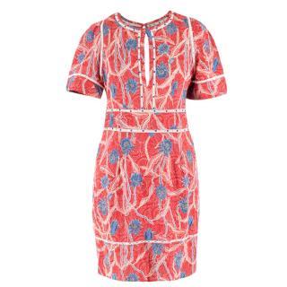 Isabel Marant Cut Out Floral Embellished Tea Dress
