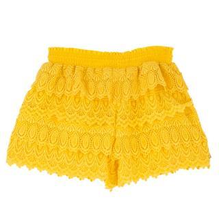Biondi Ruffled Yellow Crochet Beach Shorts