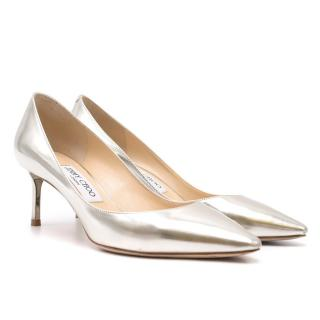 Jimmy Choo Silver Kitten Heel Pumps