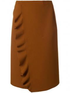 MSGM caramel brown ruffled wrap skirt