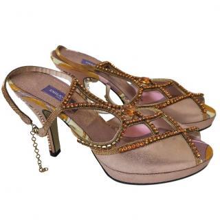 Emilio Pucci crystal embellished pink sandals
