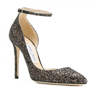 Jimmy Choo black glitter Lucy 100 pumps
