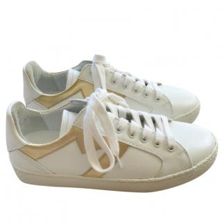Maje White & Gold Trainers