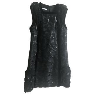Pollini Black Jacquard Sleeveless Mini Dress