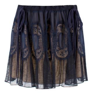 Chloe Navy Sheer Lace Mini Skirt