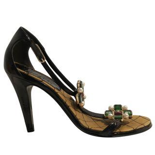 Chanel embellished black patent sandals