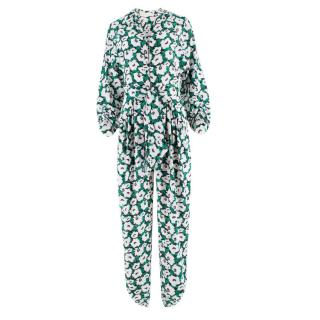 Stella McCartney 'Monia' Floral Waist-tie Silk Jumpsuit