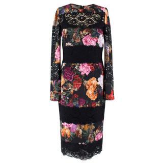 Dolce & Gabbana Silk & Lace Blend Floral Midi Dress