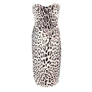 Dolce & Gabbana Leopard Print Strapless Silk Dress