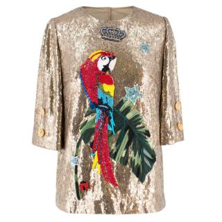 Dolce & Gabbana Gold Sequinned Parrot Embellished Top