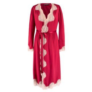 Dolce & Gabbana Lace Trim Silk Blend Robe