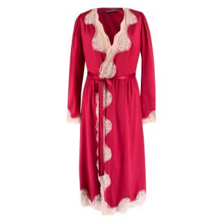 Dolce & Gabbana Lace Trim Silk Blend Robe