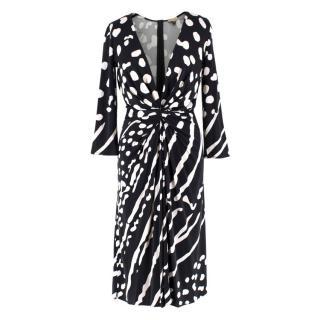 Issa Black and White Polka Dot Silk Dress