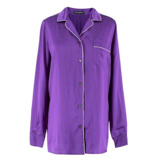 Dolce & Gabbana Silk Purple Pyjama Top