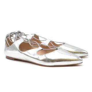 Loeffler Randall Silver Lace Up Flats