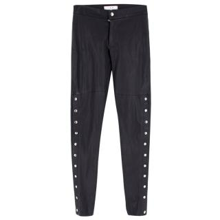 IRO Leather Popper Embellished Skinny Trousers