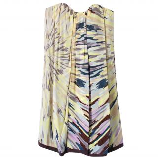 Missoni Printed Silk Strapless Dress