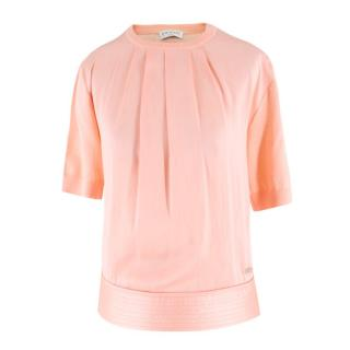Vionnet Pink Pleated Knit Sweater