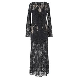 Philipp Plein Black Sheer Lace Embroidered Gown
