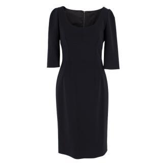 Dolce & Gabbana Black Wool Midi Dress