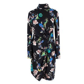 Prabal Gurung Floral High-neck Ruched Dress