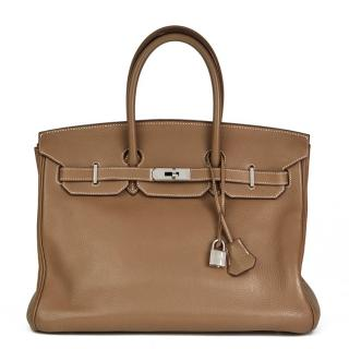 Hermes Etoupe Togo Leather 35cm Birkin Bag
