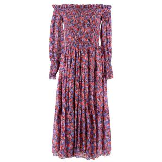 Rebecca Taylor Bardot Floral Midi Dress