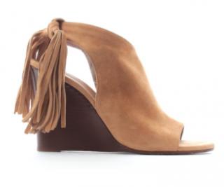 Chloe Fringe-Tie Suede Wedge Sandals