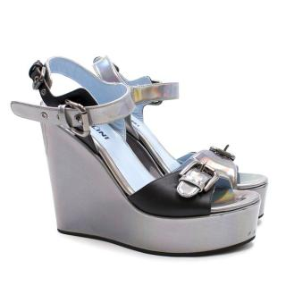 Studio Pollini Holographic Wedge Sandals