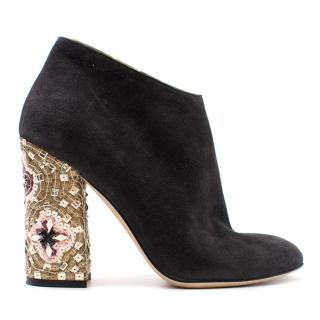 Dolce & Gabbana Black Embellished Block Heeled Ankle Boots