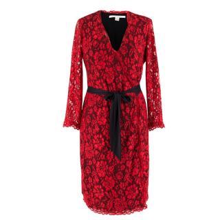 Diane von Furstenberg Red Lace Wrap Dress